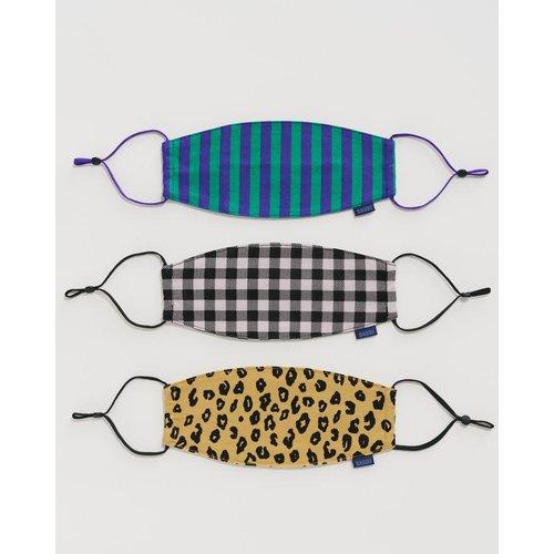 Baggu fabric Loop mask set - Gingham, Leopard and Stripe