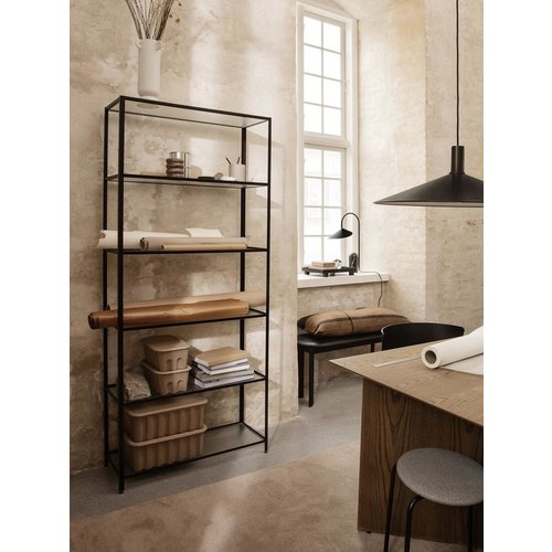 ferm LIVING Haze Bookcase - Reeded Glass Black