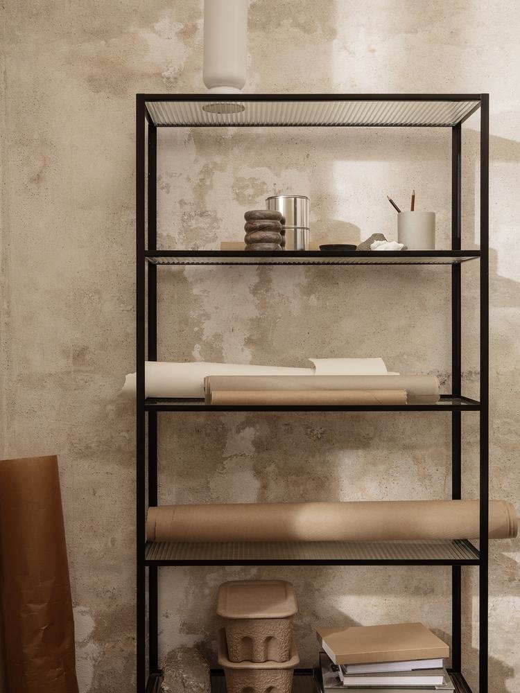 ferm LIVING ferm LIVING Haze Bookcase - Reeded Glass Black
