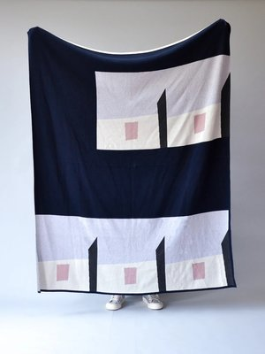 Sophie Home Falt Throw Navy/Grey