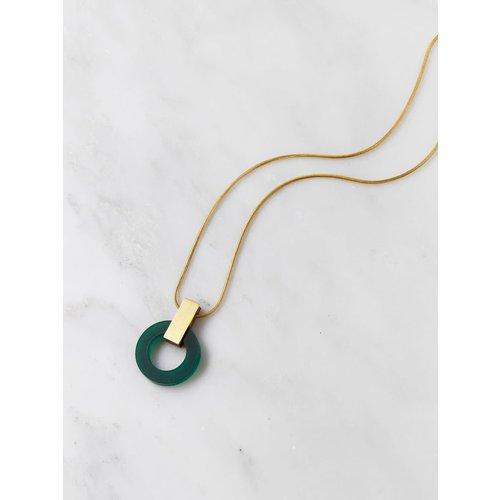 Wolf & Moon Orbit Necklace Dark Green