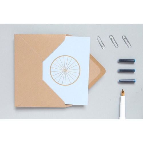 Ola Foil Blocked Cards: Bicycle Print in Blue/Brass