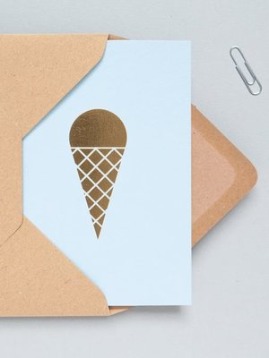 Ola Foil Blocked Cards: Ice Cream Print in Blue/Brass