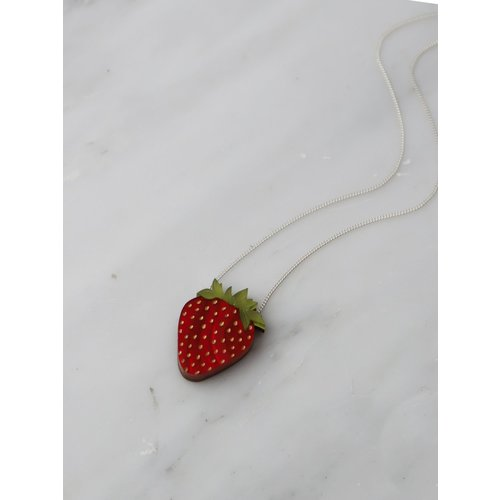 Wolf & Moon Strawberry Necklace