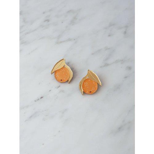 Wolf & Moon Mini Orange Studs