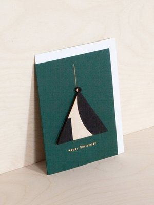 Ola Screenprinted Wooden Ornament Card, Triangle on Forest Green