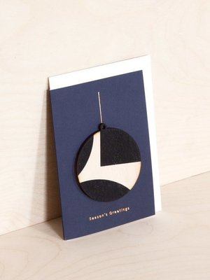 Ola Screenprinted Wooden Ornament Card, Circle on Navy
