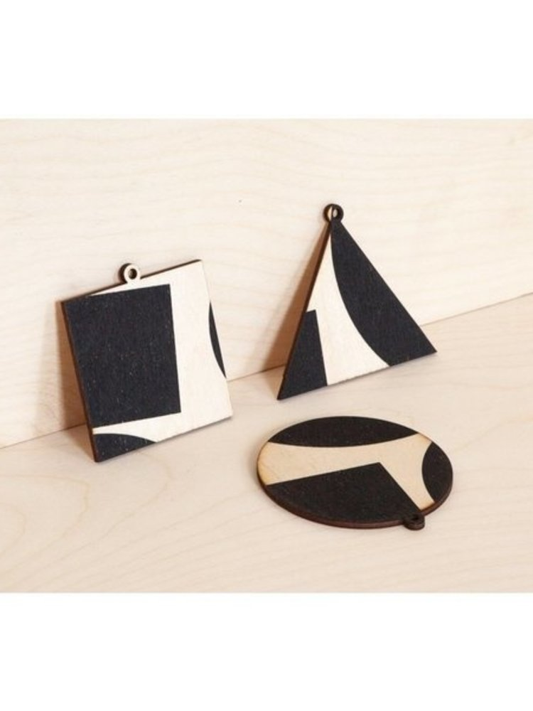 Ola Ola Screenprinted Wooden Ornament Card, Circle on Navy