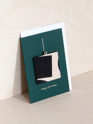 Ola Ola Screenprinted Wooden Ornament Card, Square on Forest Green