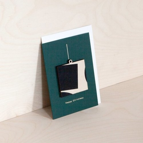 Ola Screenprinted Wooden Ornament Card, Square on Forest Green