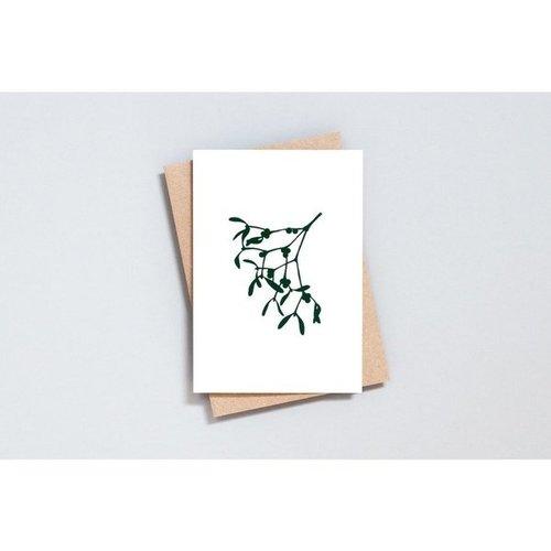 Ola Foil Blocked Card, Mistletoe Print in Ivory/Green