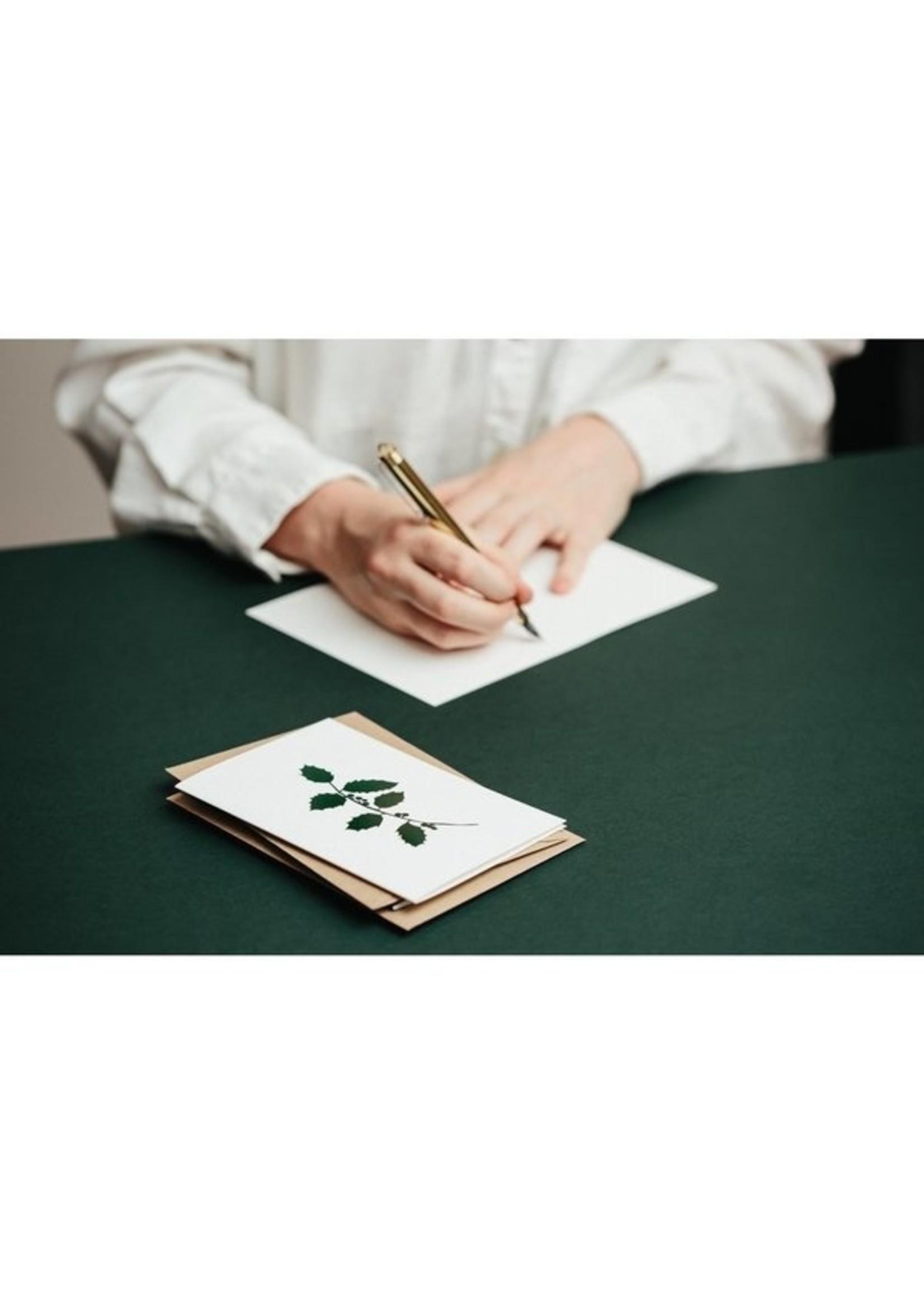 Ola Ola Foil Blocked Card, Mistletoe Print in Ivory/Green