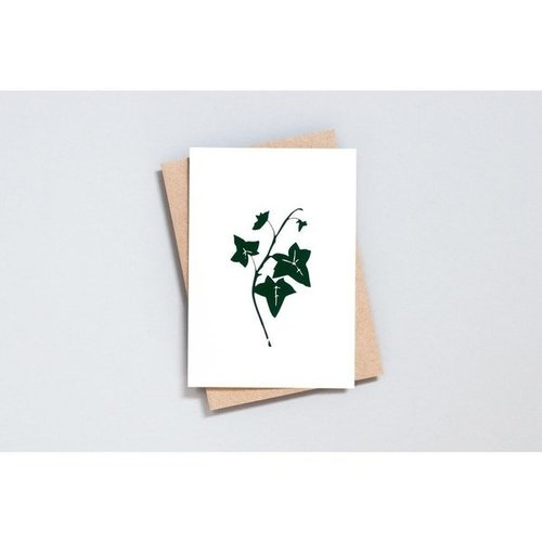 Ola Foil Blocked Card, Ivy Print in Ivory/Green