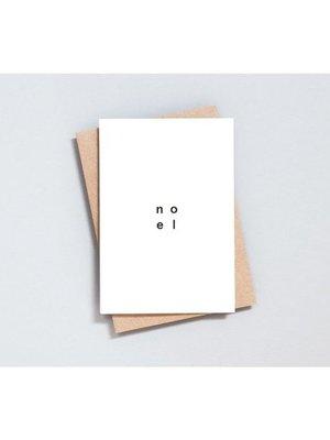 Ola Foil Blocked Card, Noel Print in Natural/Black