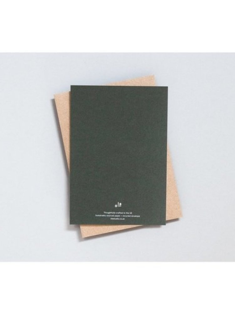 Ola Ola Foil Blocked Cards: Present Print in Green/Brass