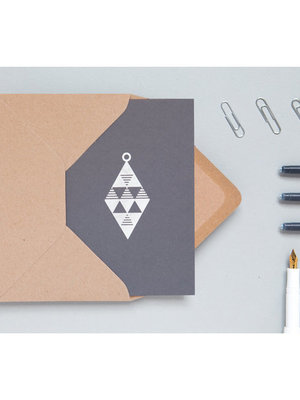 Ola Foil Blocked Cards: Diamond Bauble Grey/Silver