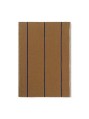 ferm LIVING Hale Yarn Dyed Linen Tea Towels - Mustard/Navy