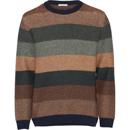 KnowledgeCotton Multi coloured striped o-neck sweater