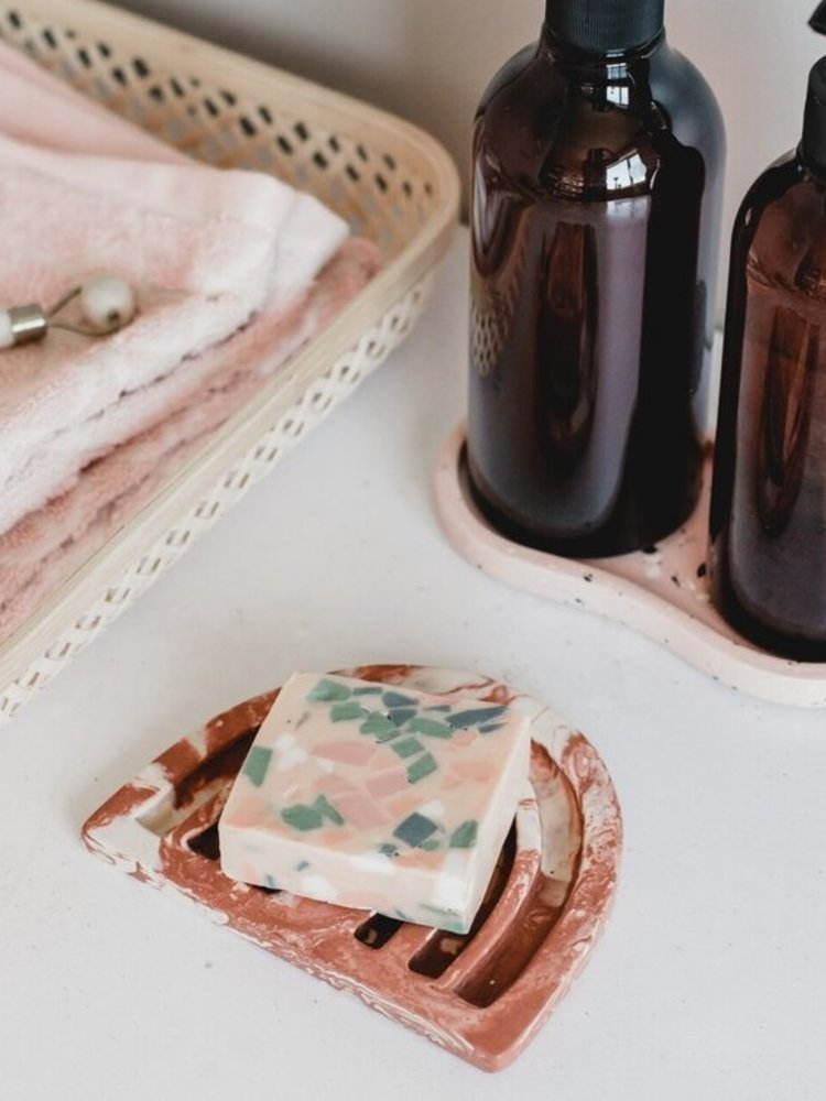 Badger & Birch Badger & Birch Rainbow Soap Dish - Marbled Terracotta