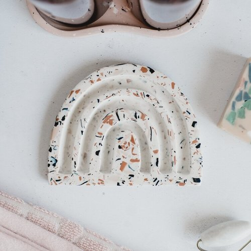 Badger & Birch Rainbow Soap Dish - Nude Terrazzo