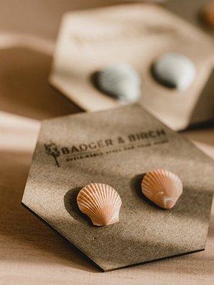 Badger & Birch Shell Studs - terracotta