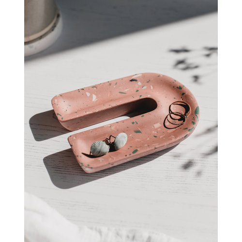 Badger & Birch Phone Stand and trinket dish - terracotta terrazzo