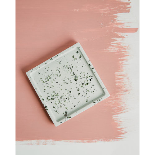 Badger & Birch Square Trivet - Mint with recycled glass