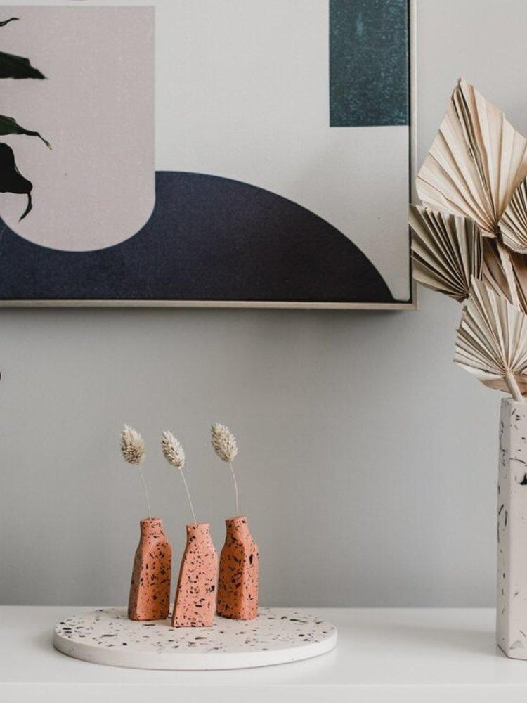 Badger & Birch Badger & Birch Grass Stem Vase - white with black terrazzo