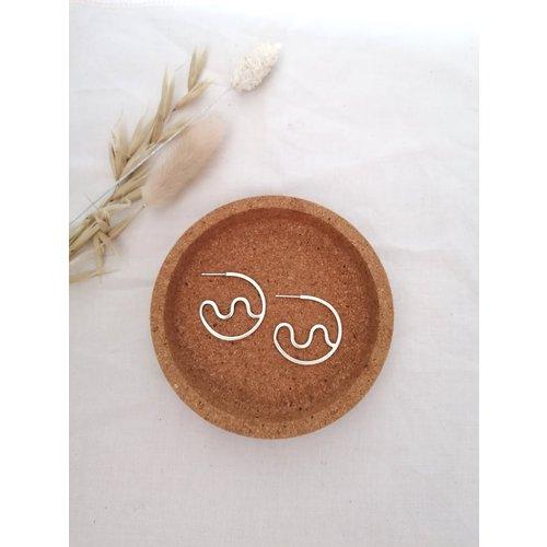 Squiggle Hoops Silver Earrings
