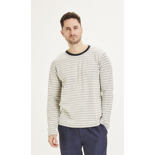 KnowledgeCotton KnowledgeCotton Locust striped long sleeve - Total Eclipse