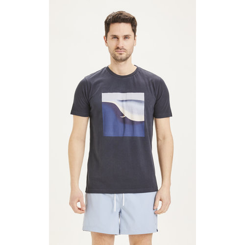KnowledgeCotton Alder Surf Tee - Dark Blue