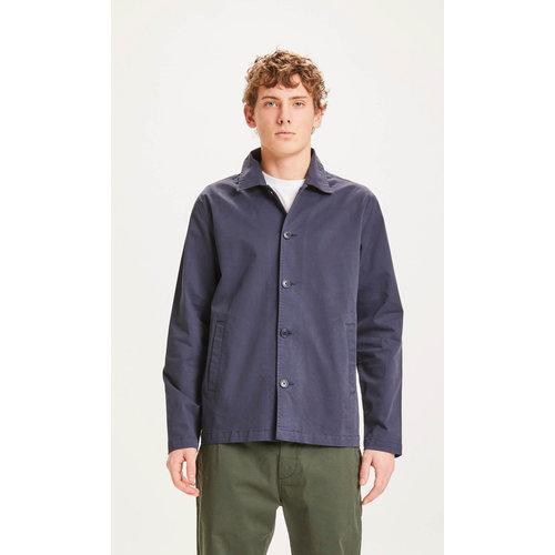 KnowledgeCotton Pine poplin over shirt - Dark Blue