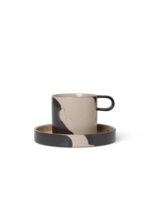 ferm LIVING Inlay Cup with Saucer - Sand/Brown