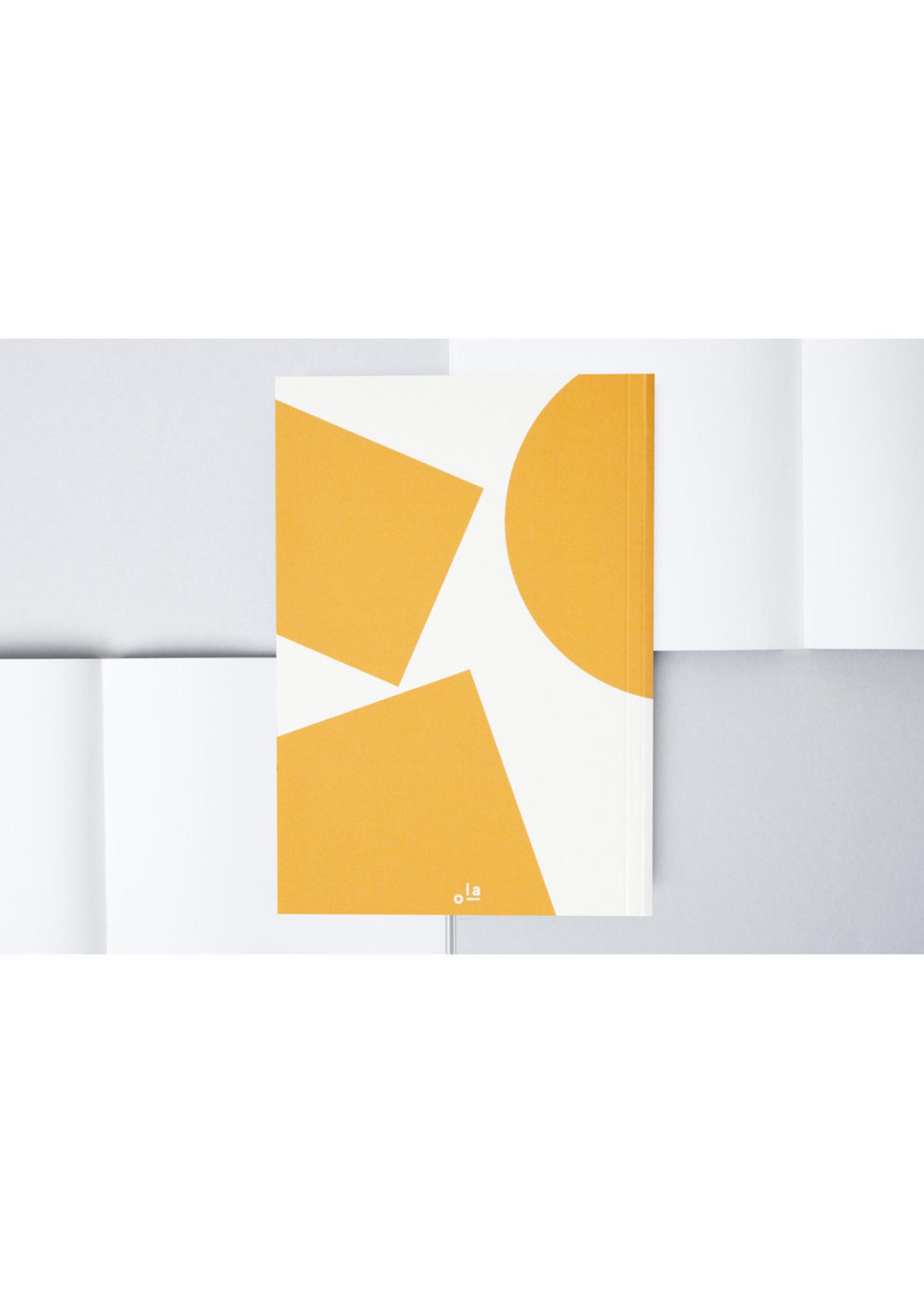 Ola Ola, Limited Edition Medium Layflat Weekly Planner, Blocks Print in Mustard - Calendar Insert: 2021/2022