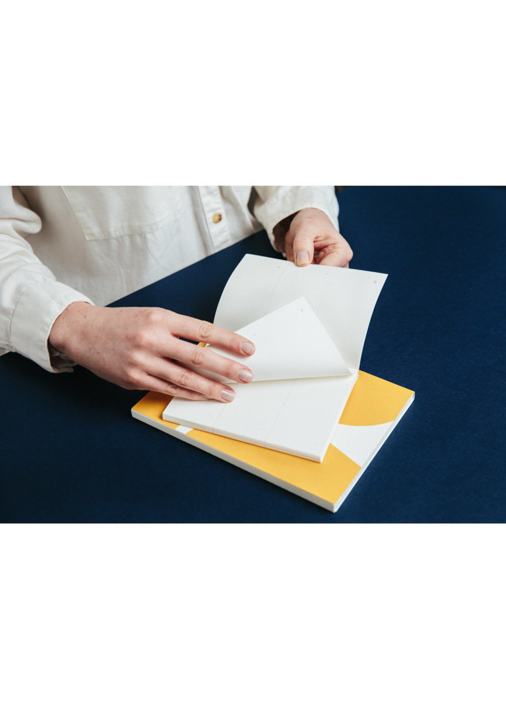Ola Ola, Limited Edition Pocket Layflat Notebook, Blocks Print in Mustard / Plain Pages