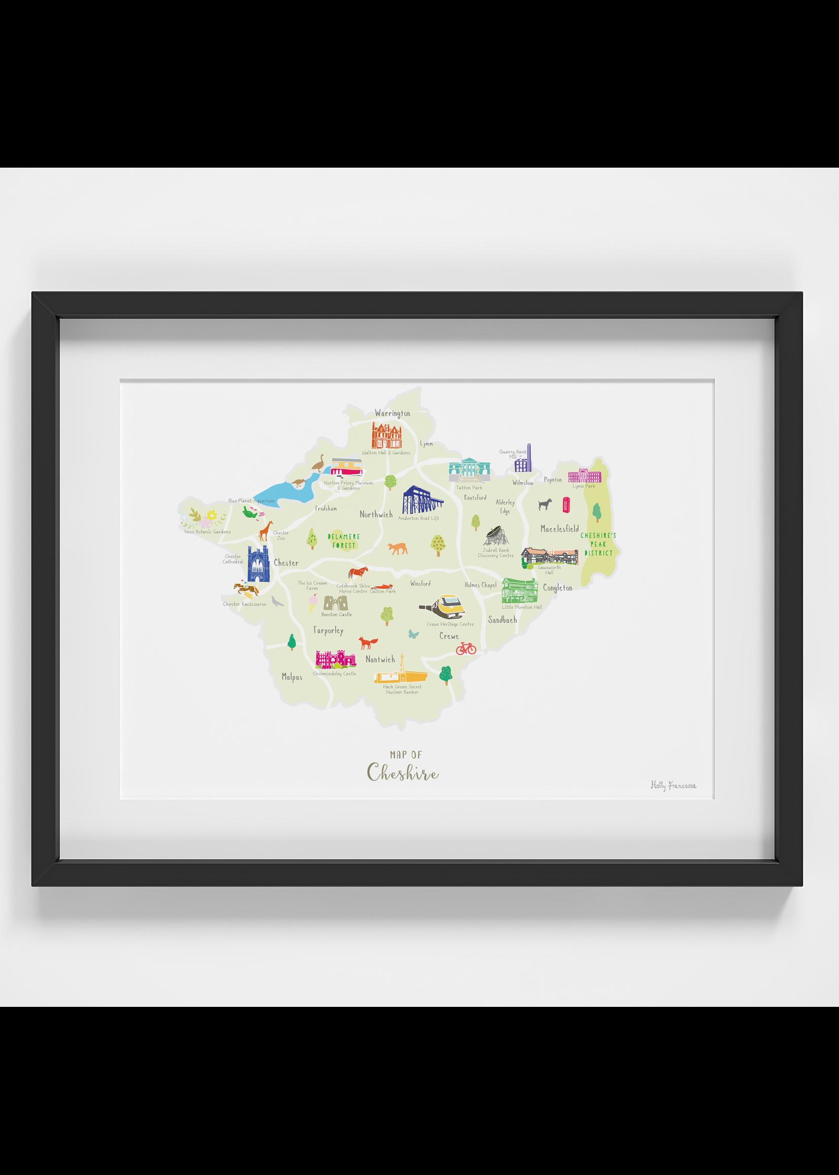 Holly Francesca Holly Francesca Map of Cheshire A4