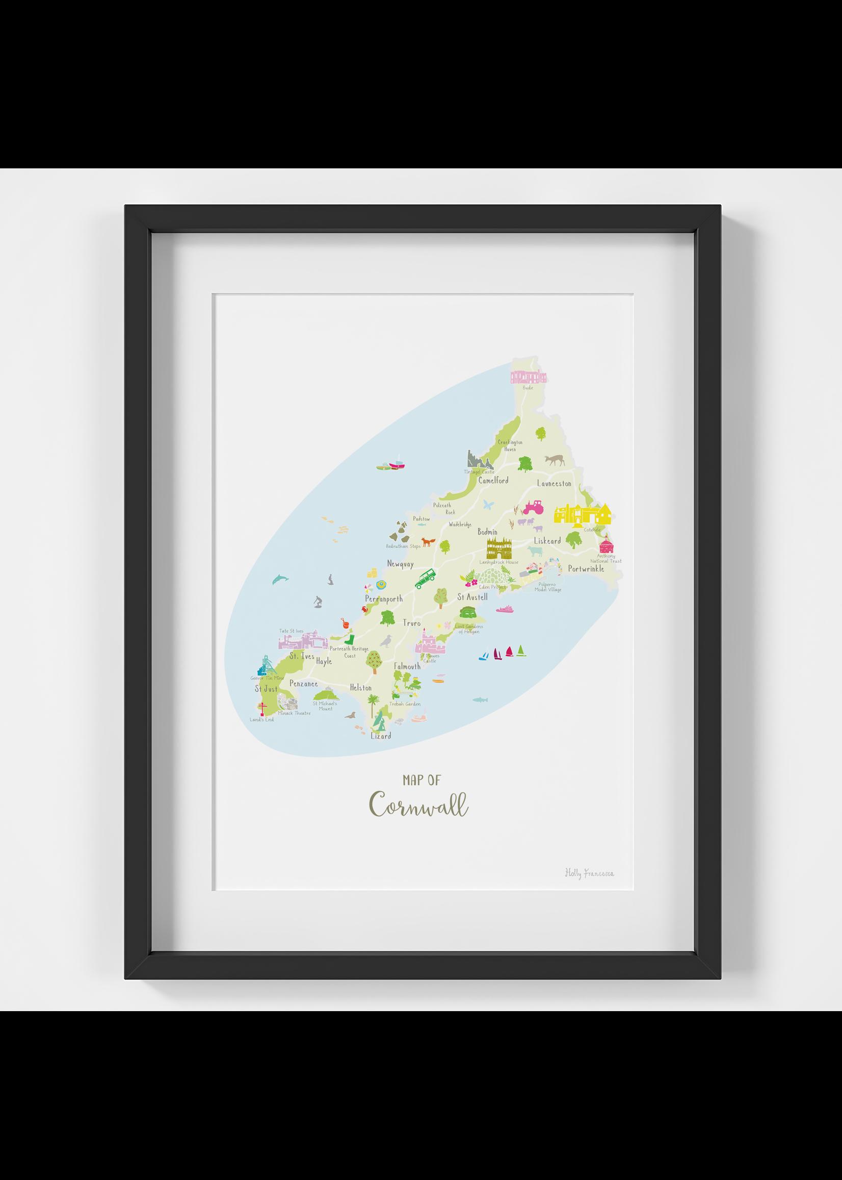 Holly Francesca Holly Francesca Map of Cornwall A4