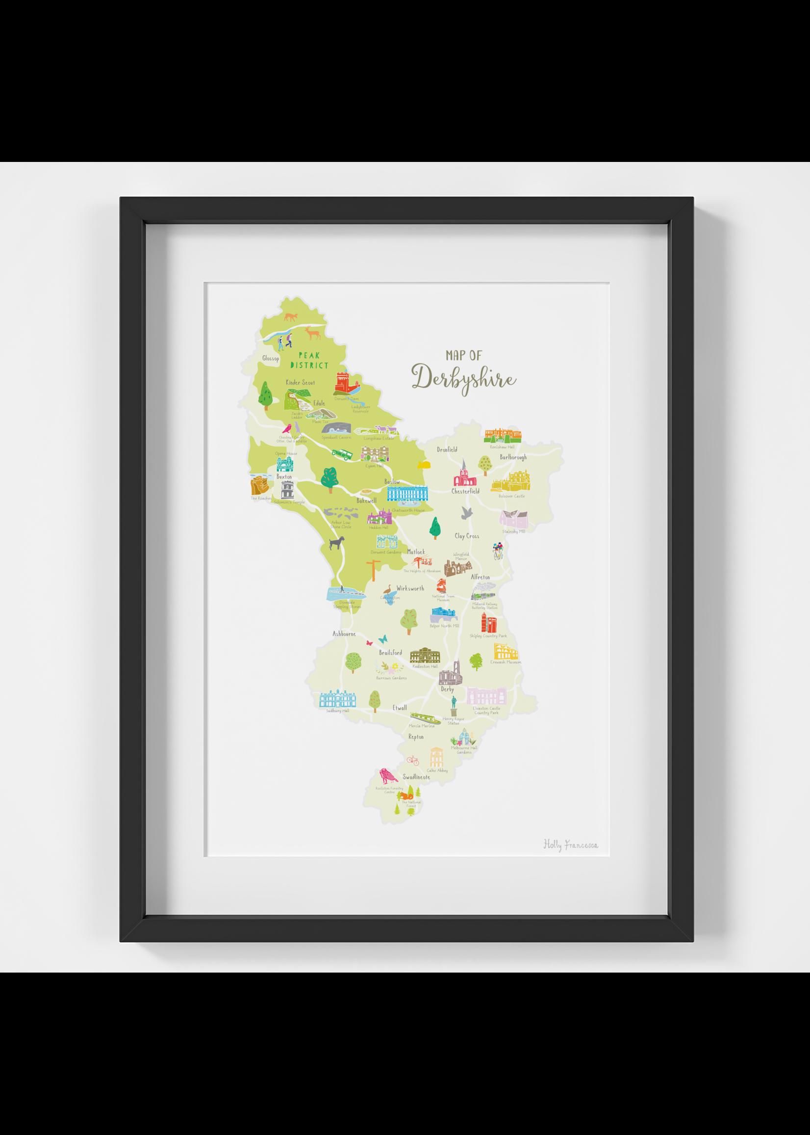 Holly Francesca Holly Francesca Map of Derbyshire A4