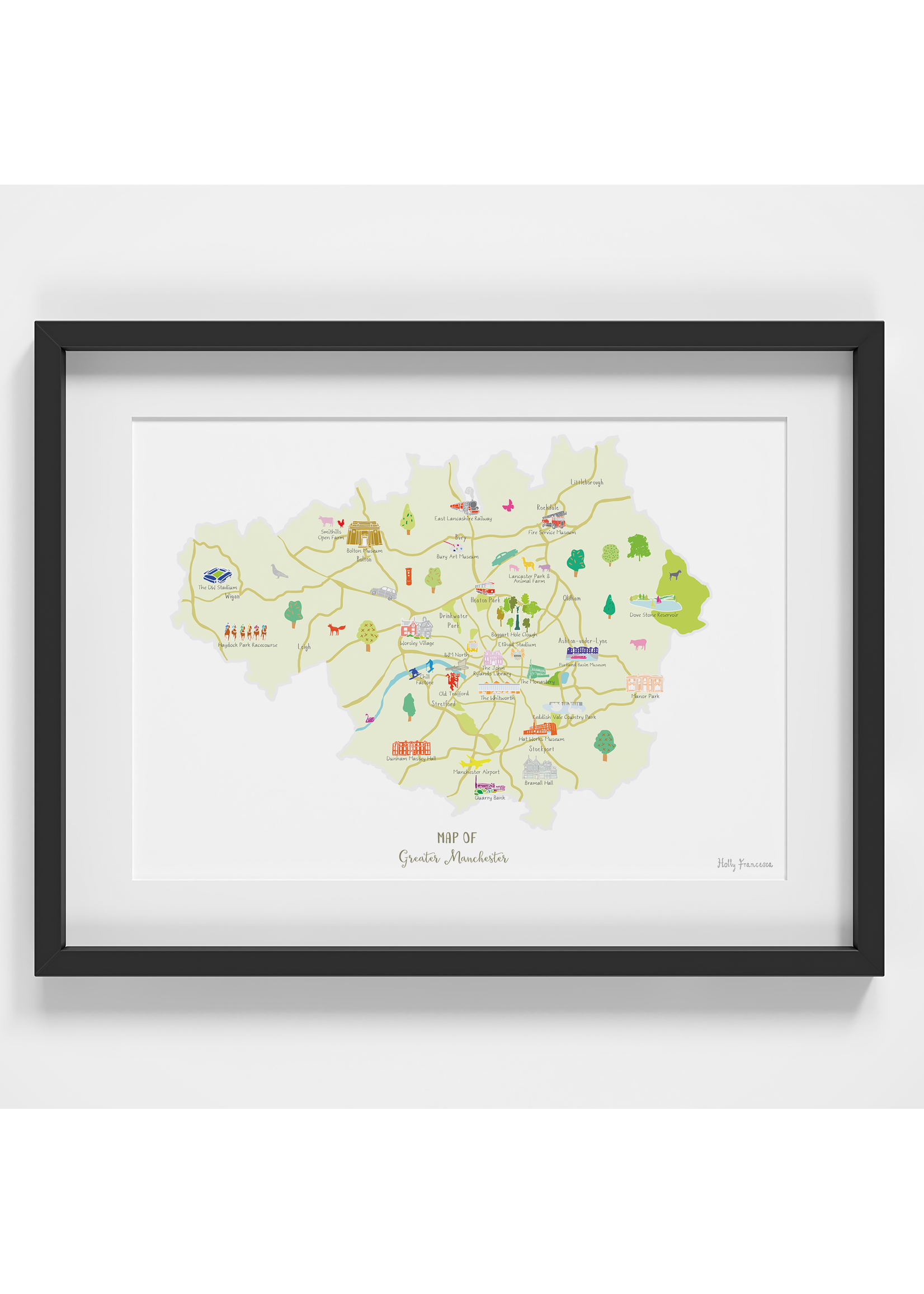 Holly Francesca Holly Francesca Map of Greater Manchester A4