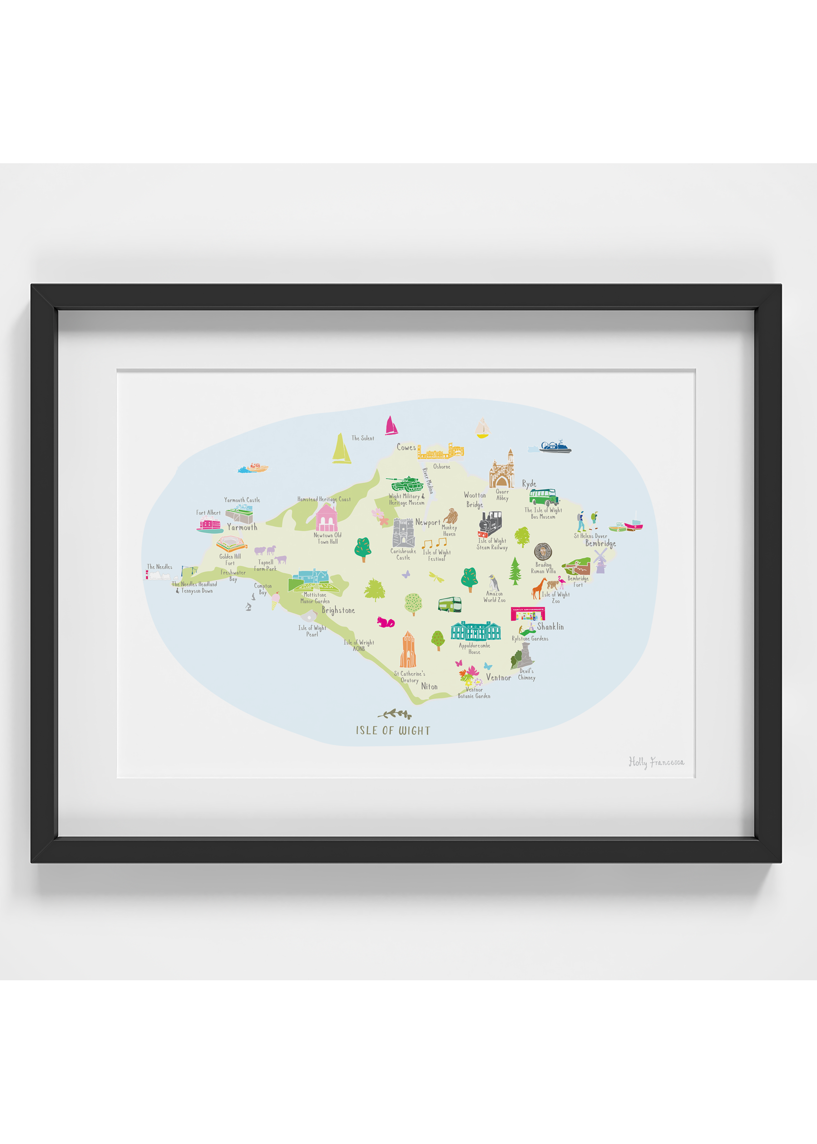 Holly Francesca Holly Francesca Map of Isle of Wight A4