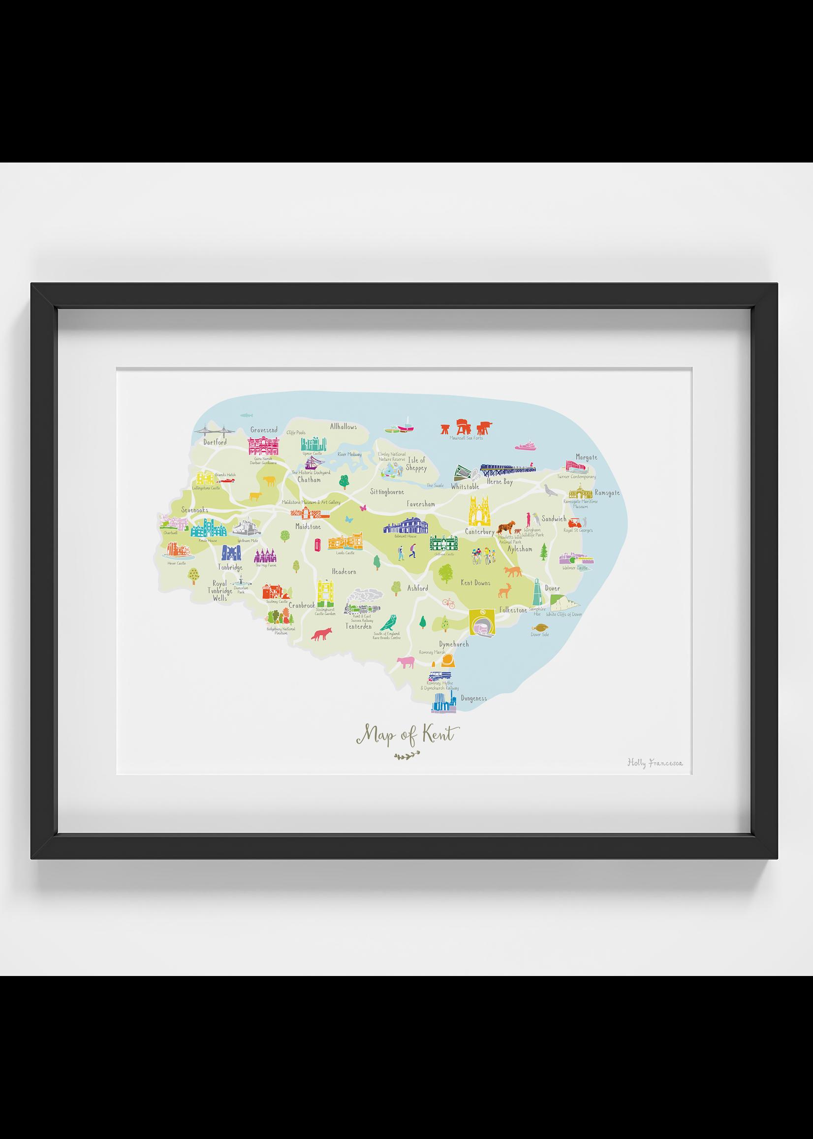 Holly Francesca Holly Francesca Map of Kent A4