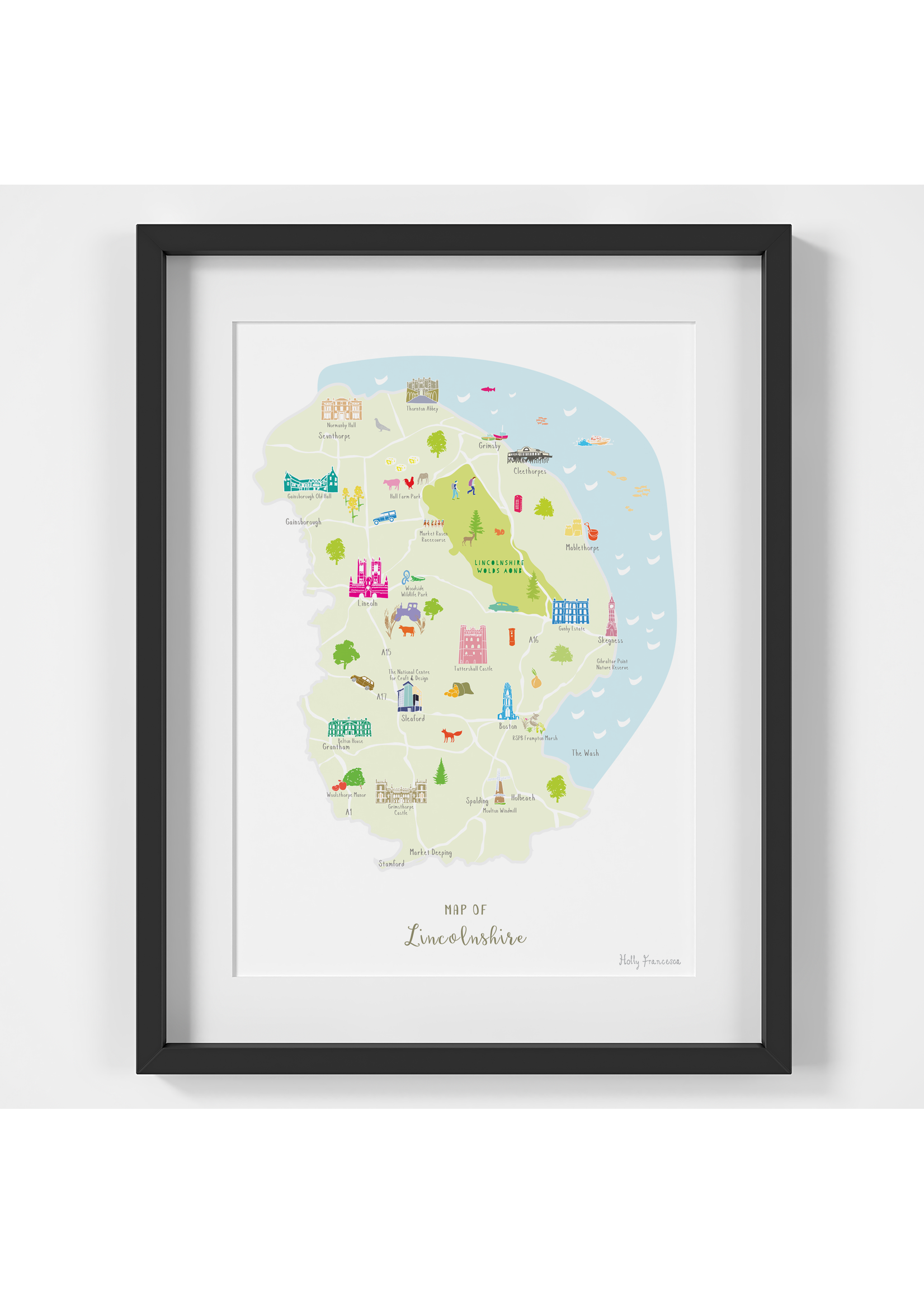 Holly Francesca Holly Francesca Map of Lincolnshire A4