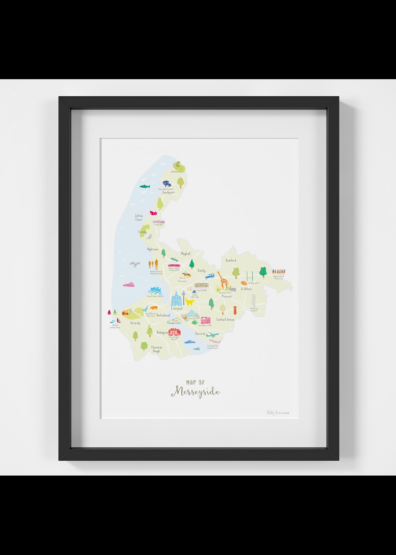 Holly Francesca Holly Francesca Map of Merseyside A4