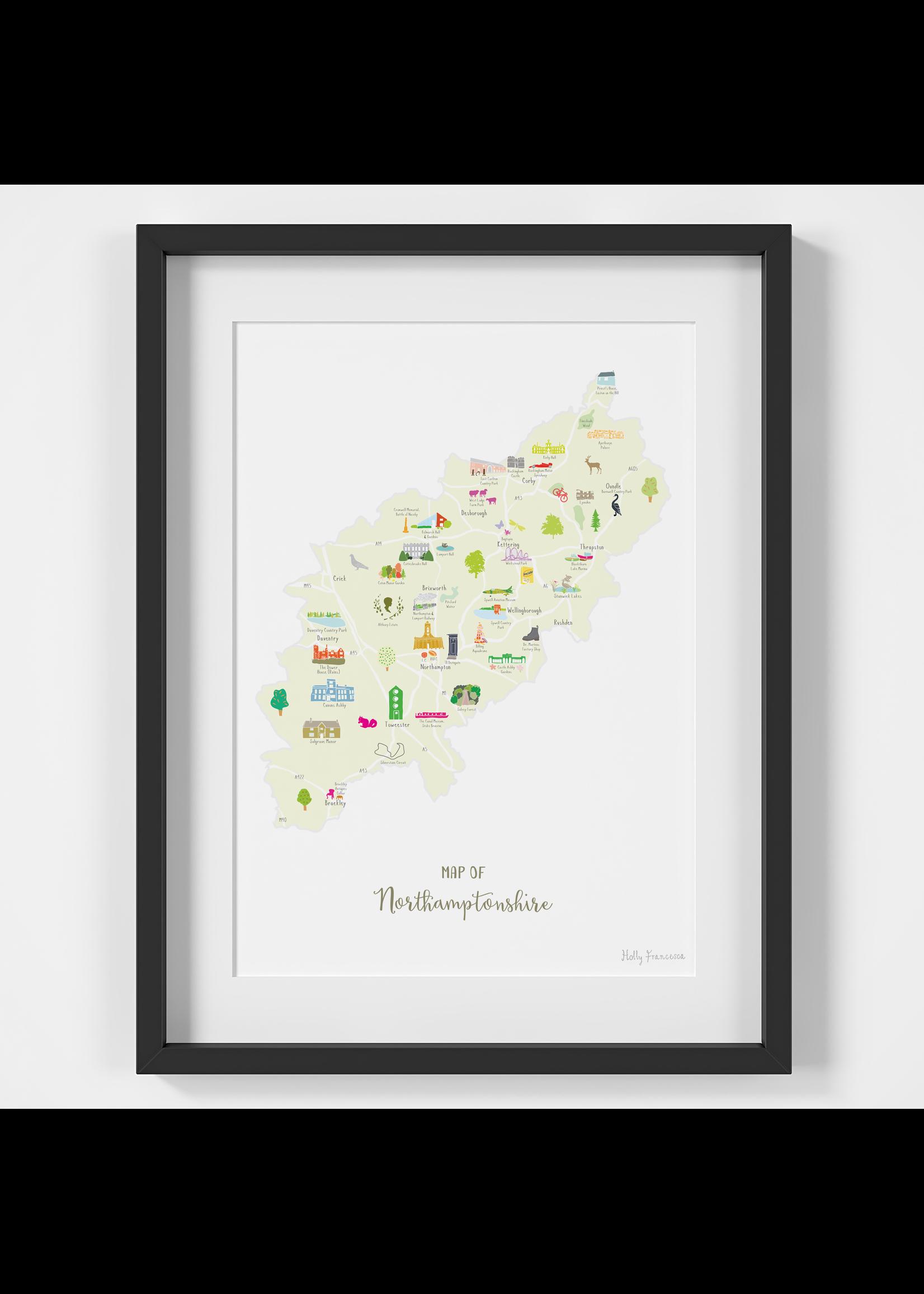 Holly Francesca Holly Francesca Map of Northamptonshire A4