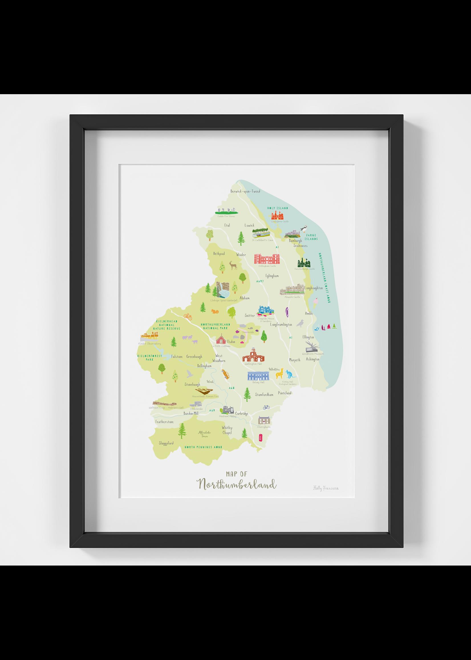 Holly Francesca Holly Francesca Map of Northumberland A4