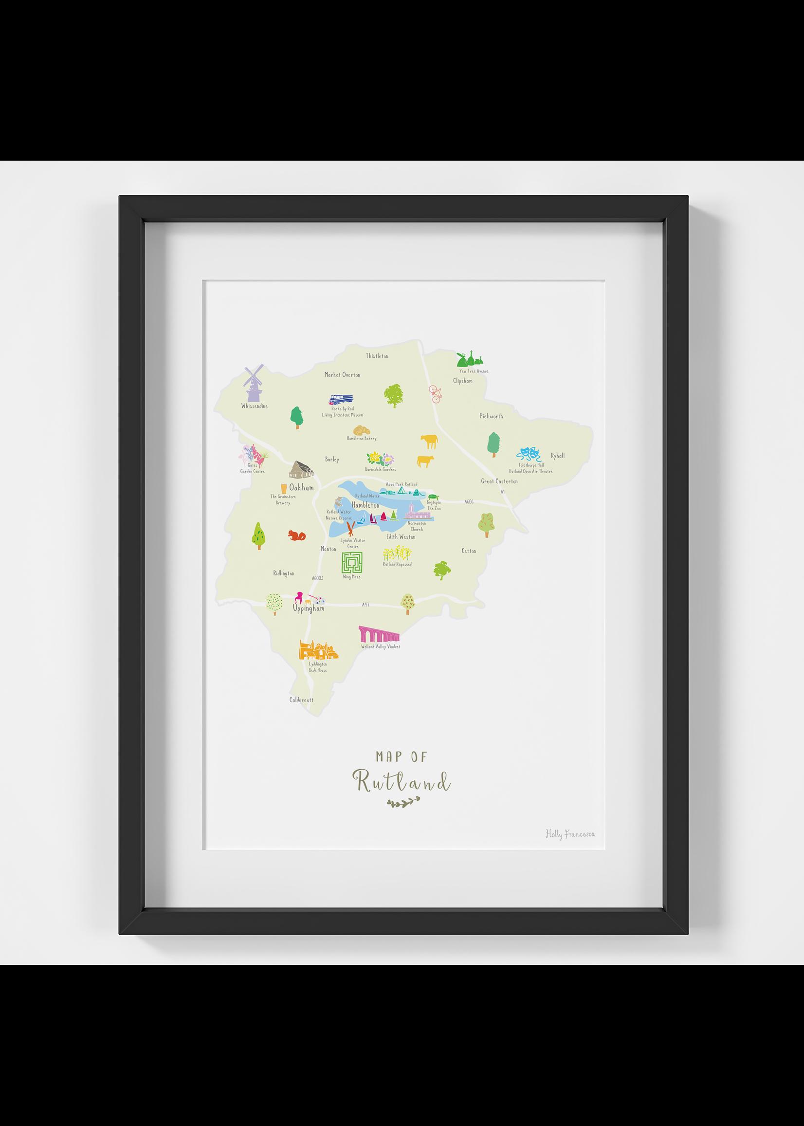 Holly Francesca Holly Francesca Map of Rutland A4