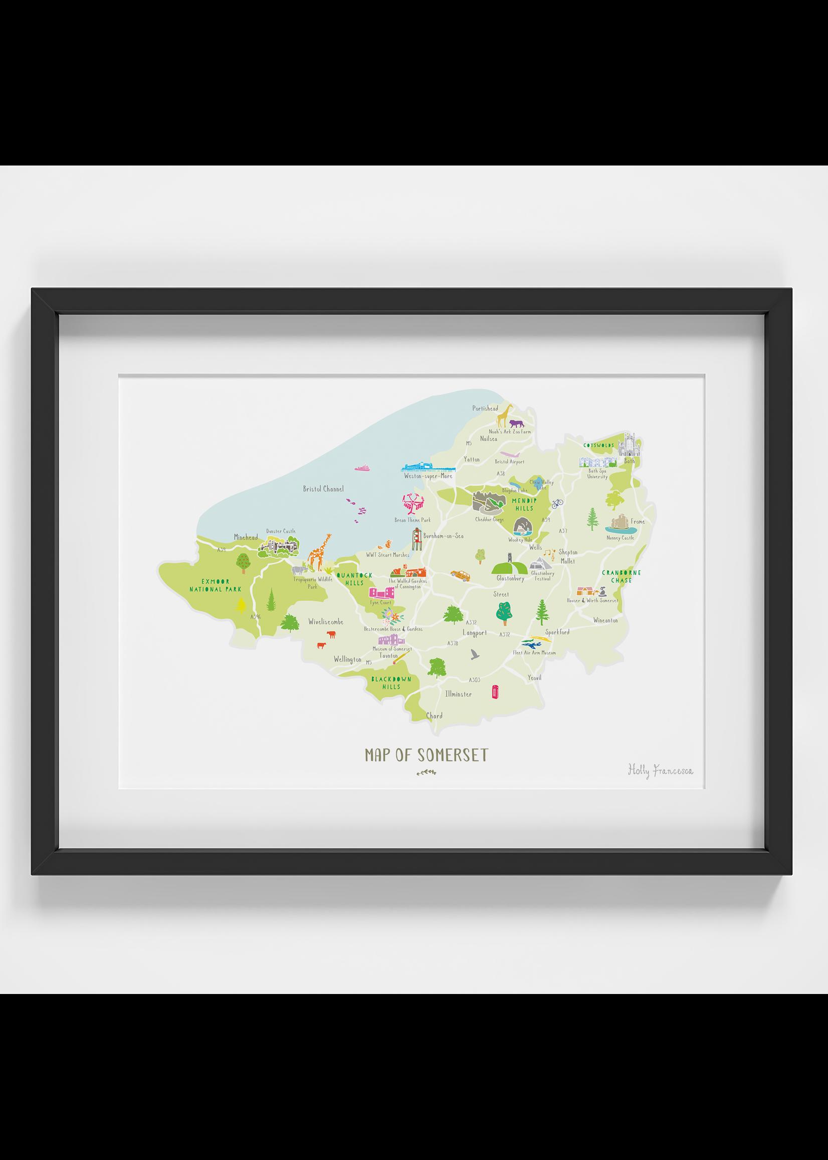 Holly Francesca Holly Francesca Map of Somerset A4