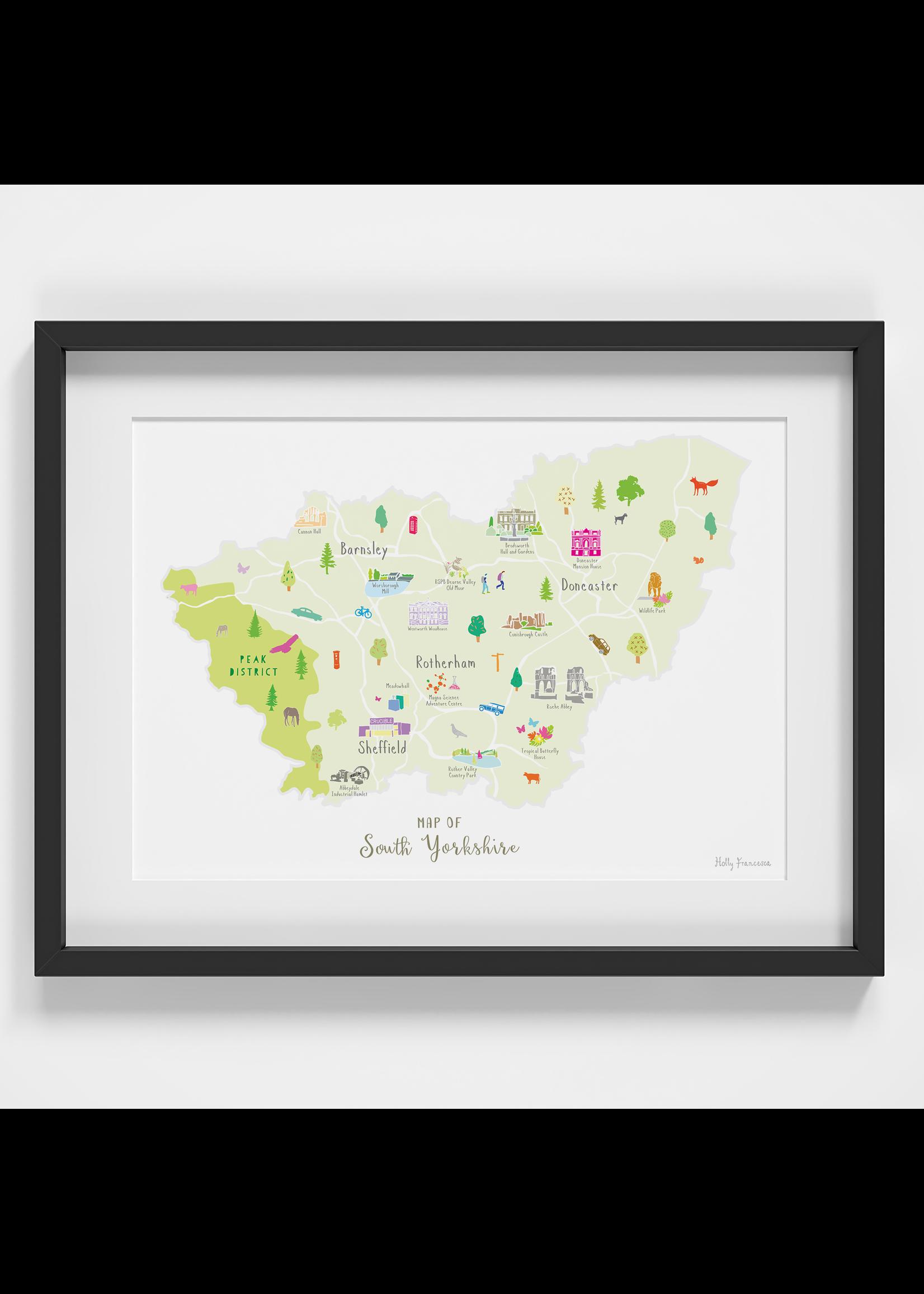 Holly Francesca Holly Francesca Map of South Yorkshire A4