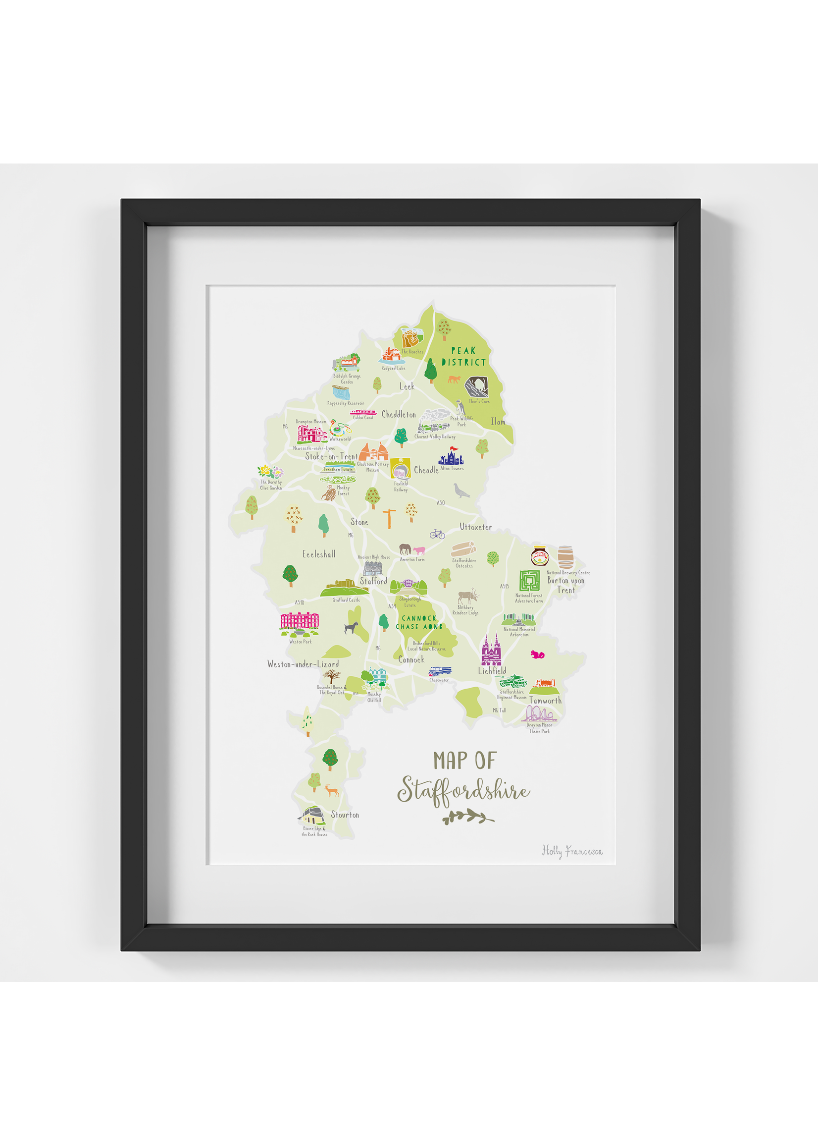 Holly Francesca Holly Francesca Map of Staffordshire  A4