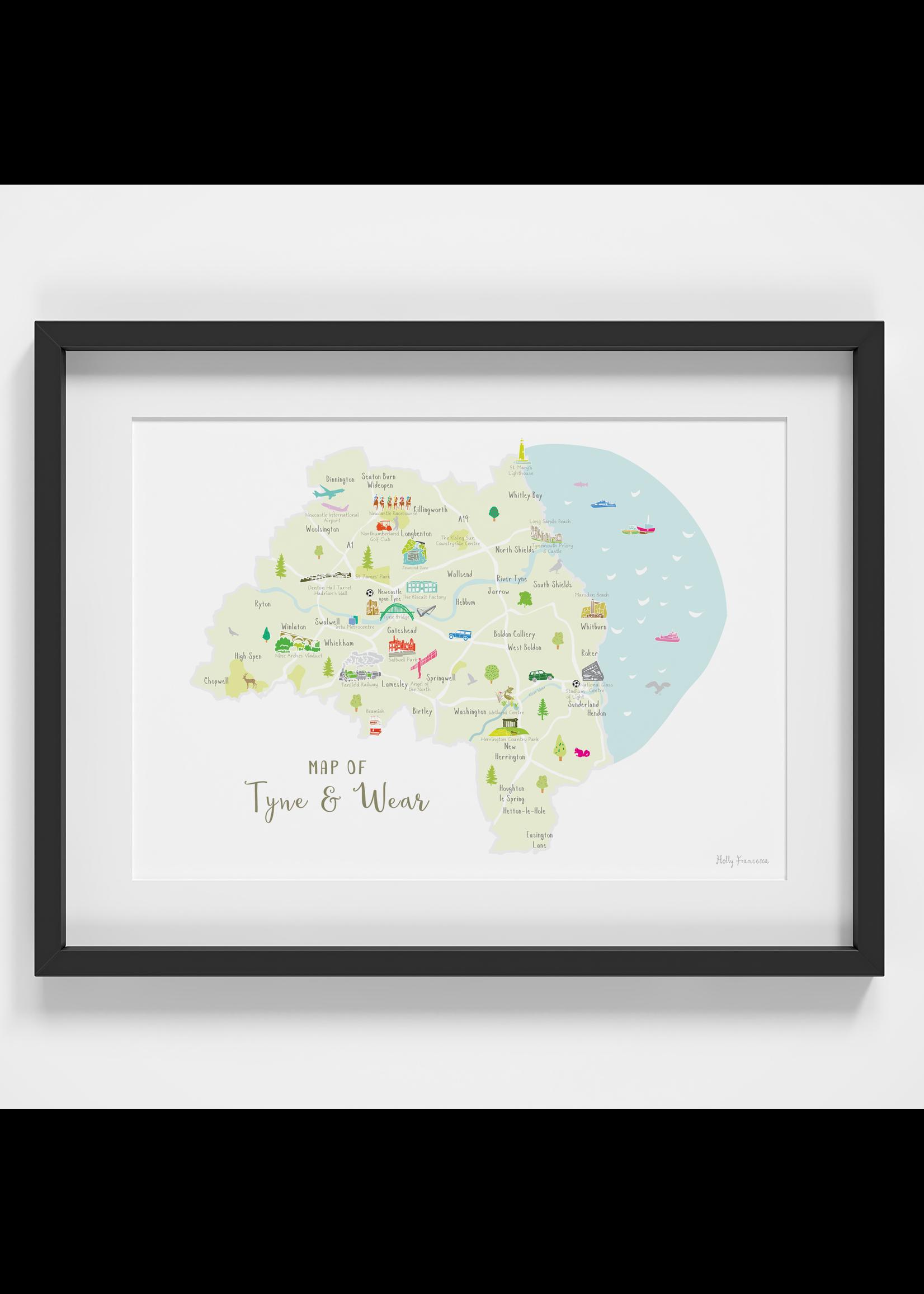 Holly Francesca Holly Francesca Map of Tyne & Wear A4